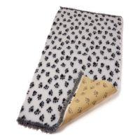 Hundekuscheldecke Antirutsch Soft 30 weiss mit schwarzen Pfötchen